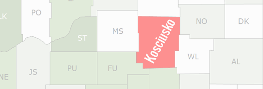 Kosciusko County Map